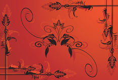 Floral designs. On red back ground Stock Images