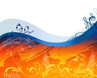 Floral designs. Graphic design of a wavy floral s stock illustration