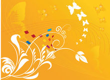 Floral designs with butterflie. S on yellow background Stock Photos