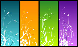 Floral designs on colored backgrounds. Four floral designs on colored backgrounds Royalty Free Stock Image