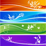 Floral desing banners. Colorful floral design banners in four different colors Stock Photos