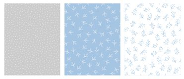 Floral dibujada mano y Dots Abstract Vector Patterns Diseño azul claro, del gris y del blanco libre illustration