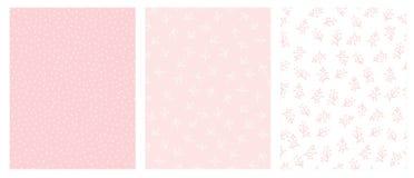 Floral dibujada mano y Dots Abstract Vector Patterns Diseño rosa claro y blanco stock de ilustración