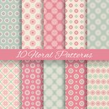 Floral different vector seamless patterns. 10 Floral different vector seamless patterns (tiling). Pink and blue shabby color. Endless texture can be used for Royalty Free Stock Photos