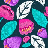 Floral digital hand drawn pattern. Cute pencile style drawing. Flowers on dark background. Pink, blue bright colors. Grunge textur royalty free illustration
