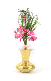Floral display in a gold vase Stock Image
