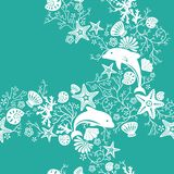 Floral and Dolphin Pattern. Illustration of seamless floral pattern with dolphin Royalty Free Stock Images