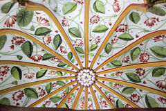 Floral Dome Design. Radial ribs with leaf and flower design in between on inside of dome at City Palace, Udaipur, Rajasthan, India, Asia royalty free stock photography