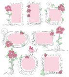 Floral διανυσματικά πλαίσια doodle Στοκ εικόνες με δικαίωμα ελεύθερης χρήσης