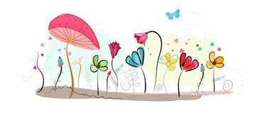Floral doodle abstract colorful flowers vector background Stock Photos