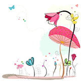 Floral doodle abstract colorful flowers vector background Royalty Free Stock Image