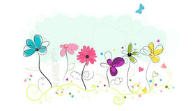 Floral doodle abstract colorful flowers vector background Royalty Free Stock Photos