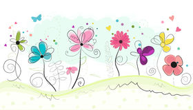 Floral doodle abstract colorful flowers vector background Stock Photography