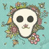Floral doodle background with funny skull Stock Image