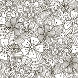 Floral doodle black and white seamless pattern Royalty Free Stock Photos