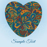 Floral doodle card heart. Ethnic pattern Royalty Free Stock Image