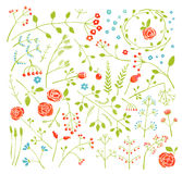 Floral Doodle Field Flowers and Plants Decoration. Colorful flowers and green set for design illustration. Vector EPS10 Stock Images