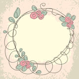 Floral doodle frame with space for text Royalty Free Stock Image