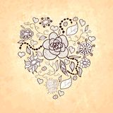 Floral doodle heart, of flowers, leaves, ladybug Royalty Free Stock Photos