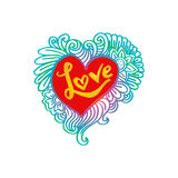 Floral doodle heart frame with Love lettering. Stock Images