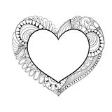 Floral doodle heart frame in zentangle style for adult coloring Stock Photos
