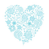 Floral doodle heart object in . Hand drawn. Stock Photos