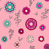Floral doodle seamless pattern. Colorful vector illustration for boho style, spring design Stock Photography