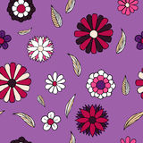 Floral doodle seamless pattern. Colorful vector illustration for boho style, spring design Stock Photos