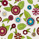 Floral doodle seamless pattern. Colorful vector illustration for boho style, spring design Stock Image