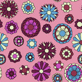 Floral doodle seamless pattern. Colorful vector illustration for boho style, spring design Stock Images