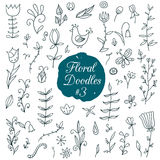 Floral doodle set Stock Photography