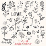 Floral doodle sketchy vector illustration Royalty Free Stock Image