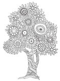 Floral doodle tree. Floral black and white tree could be use for coloring book in doodle style Stock Image
