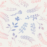 Floral doodle vector seamless pattern. Stock Photography