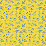 Floral doodle vector seamless pattern. Stock Image