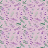 Floral doodle vector seamless pattern in pink. Stock Image