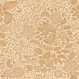 Floral doodle wallpaper seamless pattern. Royalty Free Stock Photo