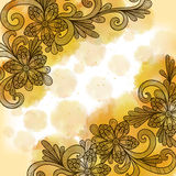 Floral doodles με το υπόβαθρο watercolor Στοκ φωτογραφία με δικαίωμα ελεύθερης χρήσης