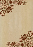 Floral Doodles on brown paper Royalty Free Stock Photos