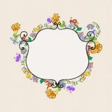 Floral doodles frame Stock Photos