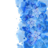 Floral doodles with watercolor background Stock Images
