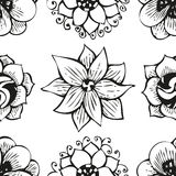 Floral doodling flower seamless pattern in tattoo Stock Photos