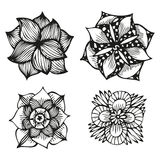 Floral doodling flowers set in tattoo style Stock Image