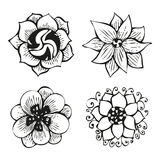 Floral doodling flowers set in tattoo style Royalty Free Stock Images