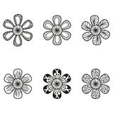 Floral doodling flowers set in tattoo style Royalty Free Stock Photography