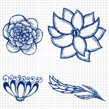Floral doodling flowers set in tattoo style Stock Photography