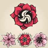 Floral doodling flowers set in tattoo style Stock Images