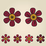 Floral doodling flowers set in tattoo style Stock Photos