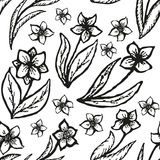 Floral doodling seamless background in tattoo Stock Photography