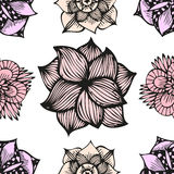 Floral doodling seamless pattern in tattoo style. With flowers, vector illustration Stock Images